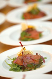 Image: Smoked Deeside Salmon on a bed of lemon balm salad leaves, fresh capers and vinaigrette. © Janie Barclay Photography