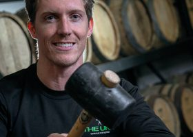 First Cask of Founders' Release filled by Olympian Owner